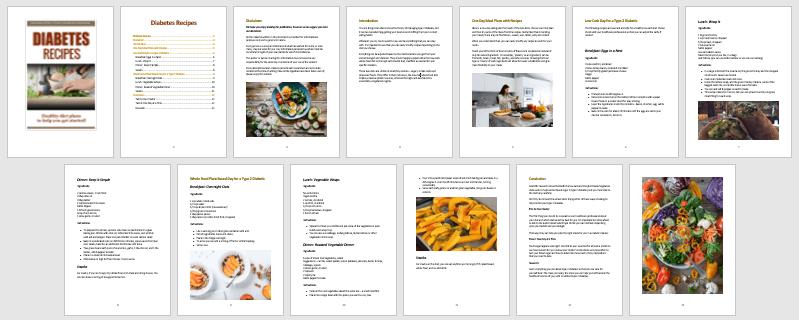 Diabetes Recipes PLR Report Contents